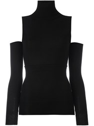 Maison Martin Margiela Mm6 High Neck Cropped Blouse Black