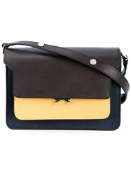 Marni Trunk Leather Shoulder Bag Navy Multi Coloured Yellow Navy Blue Brown