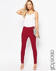 Asos Tall High Waist Trouser In Skinny Fit Oxblood