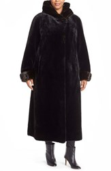Plus Size Women's Gallery Hooded Full Length Faux Fur Coat