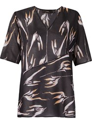 Andrea Marques Abstract Print V Neck Tunic Black
