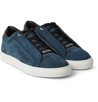 Brioni Leather And Suede Sneakers Petrol