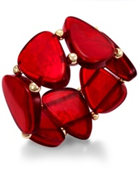 Style And Co. Gold Tone Red Shell Stretch Bracelet