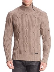 Belstaff Wool And Cashmere Cable Knit Sweater Brown