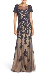 La Femme Women's Embellished Lace Applique Gown