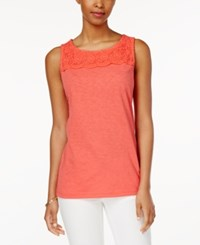 Charter Club Sleeveless Crochet Yoke Top Only At Macy's Modern Coral