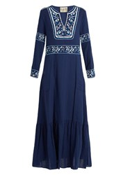 Sea Long Sleeved Fishnet Embroidered Maxi Dress Blue Multi