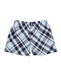 Psycho Bunny Plaid Cotton Boxers Navy Green Bios