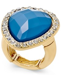 Thalia Sodi Gold Tone Blue Heart Pave Stretch Ring Only At Macy's