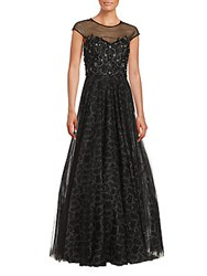 Teri Jon Glittering Cap Sleeve Dress Black
