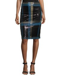 Nicole Miller Artelier Plaid Sequin Pencil Skirt Black Multi