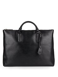 Ben Minkoff Devin Embossed Leather Briefcase Black