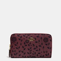 Coach Medium Zip Around Wallet In Willow Floral Coated Canvas Light Gold Burgundy