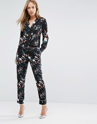 Oasis Print Peg Trouser Multi Black
