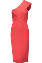 Roland Mouret Pearly One Shoulder Stretch Bandage Dress Coral