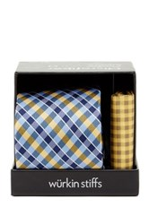 Wurkin Stiffs Plaid Tie And Pocket Square Set Blue