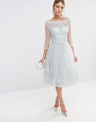 Chi Chi London Midi Tulle Dress In Premium Lace Embroidery Light Grey