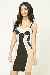 Forever 21 Colorblock Slip Dress Ivory Taupe