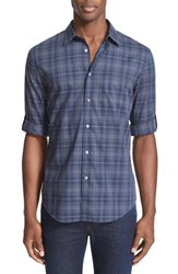 John Varvatos Men's Collection Slim Fit Plaid Roll Sleeve Shirt