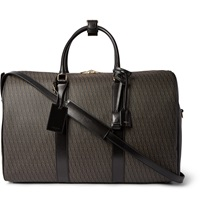 Saint Laurent Leather Trimmed Monogrammed Coated Cotton Canvas Holdall Brown