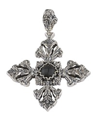 Konstantino Silver And Onyx Filigree Cross Pendant Enhancer Black