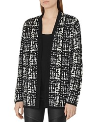 Reiss Nico Textured Cardigan Black Off White