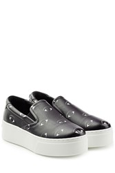 Kenzo Printed Leather Platform Slip On Sneakers Black