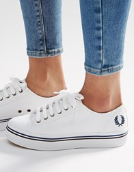 Fred Perry Phoenix White Canvas Flatform Plimsoll Trainers White Mid Imperial