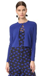 Lela Rose Long Sleeve Cropped Cardigan Lapis