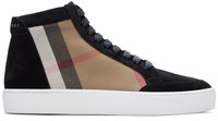 Burberry Black Salmond Check High Top Sneakers
