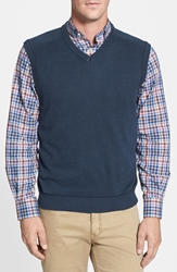 Cutter And Buck 'Broadview' V Neck Sweater Vest Big And Tall Navy Heather