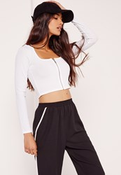 Missguided Square Neck Ribbed Zip Front Crop Top White White