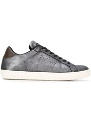 Leather Crown Lace Up Sneakers Brown