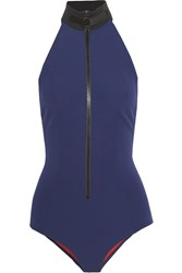 Lisa Marie Fernandez The Lisa Marie Bonded Halterneck Swimsuit Navy