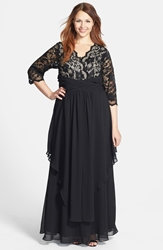 Eliza J Lace And Layered Chiffon Gown Plus Size Black