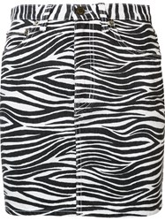 Saint Laurent Zebra Print Denim Skirt Black
