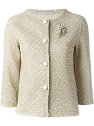 Ermanno Scervino Brooch Detail Jacket Nude And Neutrals