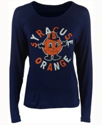 Retro Brand Women's Syracuse Orange Glitter Arch Long Sleeve T Shirt Navy