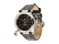 Vivienne Westwood Orb Watch Stainless Steel Black Leather Watches