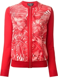 Salvatore Ferragamo Philodendron Print Cardigan Red