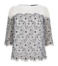 Marina Rinaldi Floral Lace Front Top Female White