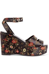 Newbark Maggie Embroidered Satin Platform Sandals Black
