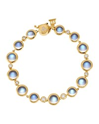 Temple St. Clair 18K Yellow Gold Single Round Bracelet With Royal Blue Moonstone And Diamond Blue Gold