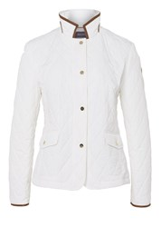 Basler Quilted Jacket With Pleather Trim Off White