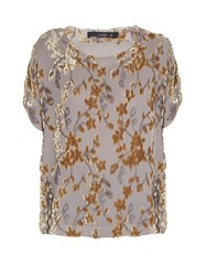Etro Floral Flocked Crepon Top Beige