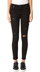 7 For All Mankind The Ankle Skinny Jeans Black Cut Out And Peekaboo