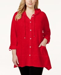 Styleandco. Style And Co. Sport Plus Size Hooded Button Down Jacket Only At Macy's New Red Amore