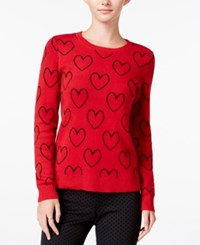 Maison Jules Heart Print Sweater Only At Macy's Red