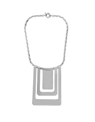 Diane Von Furstenberg Metal Chain Links Geometric Bib Necklace Silver