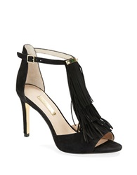 Louise Et Cie Kayla Fringe And Suede High Heel Sandals Black